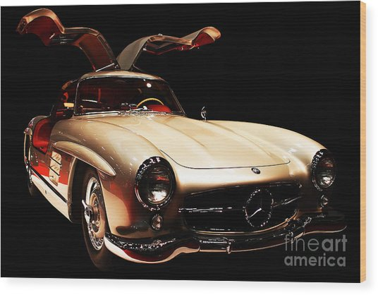 Mercedes 300sl Gullwing . Front Angle Black Bg Wood Print