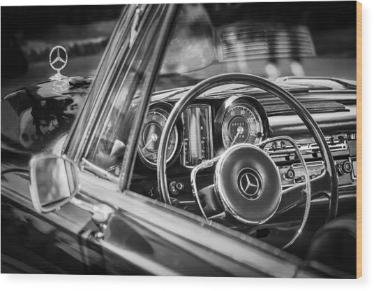 Mercedes-benz 250 Se Steering Wheel Emblem Wood Print