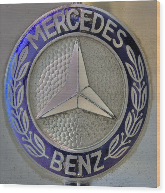 Mercedes Benz Badge Blue Wood Print