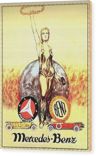 Mercedes Benz - Poster 1926 Wood Print by Roberto Prusso