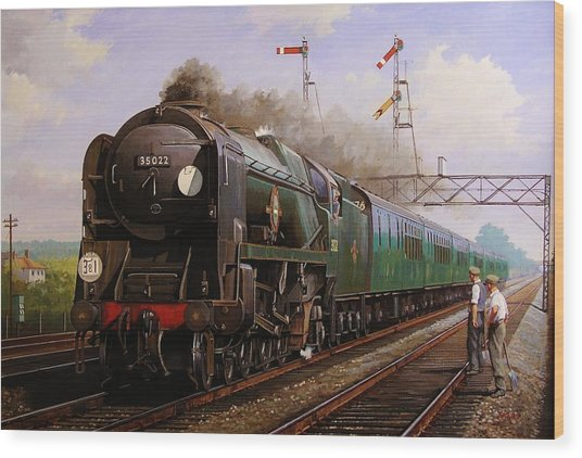 Merchant Navy Pacific At Brookwood. Wood Print
