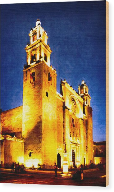 Merida Cathedral Glowing At Night Wood Print by Mark Tisdale