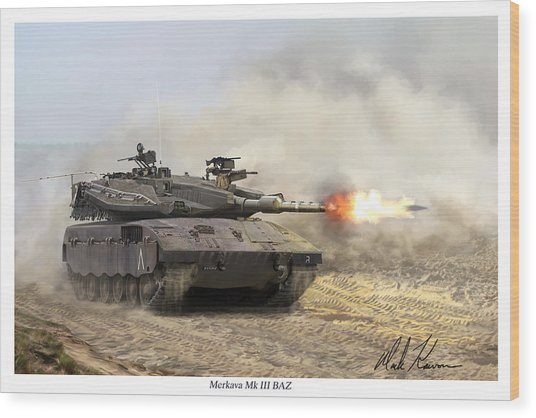 Merkava Mk IIi Baz Wood Print by Mark Karvon