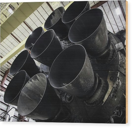 Merlin Engines On Falcon 9 Rocket From Spacex Wood Print by Spacex/science Photo Library