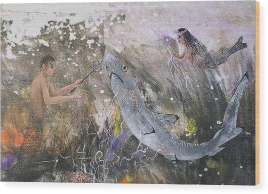 Mermaid And Neptune Wood Print by Nancy Gorr