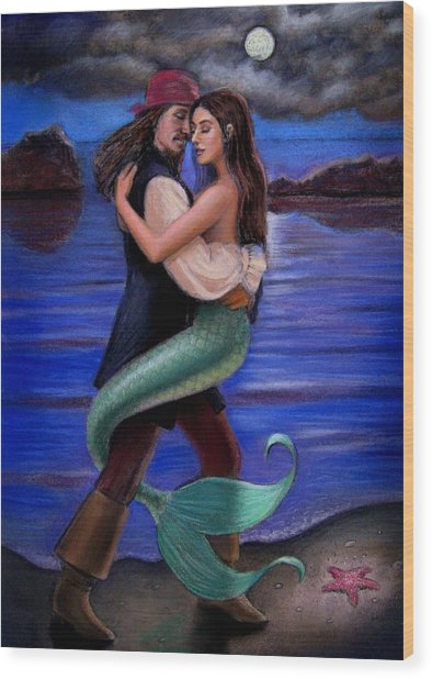 Mermaid And Pirate's Caribbean Love Wood Print