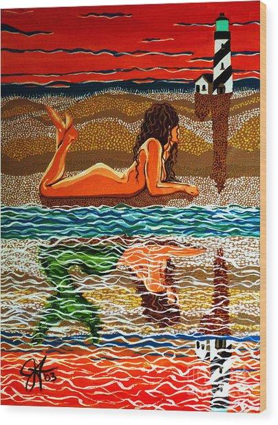Mermaid Day Dreaming  Wood Print