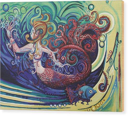 Mermaid Gargoyle Wood Print
