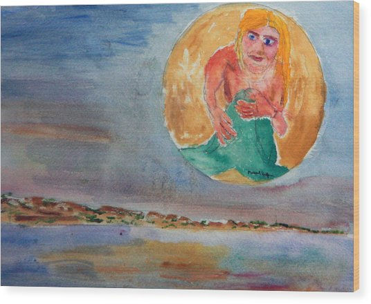 Mermaid In The Moon Wood Print