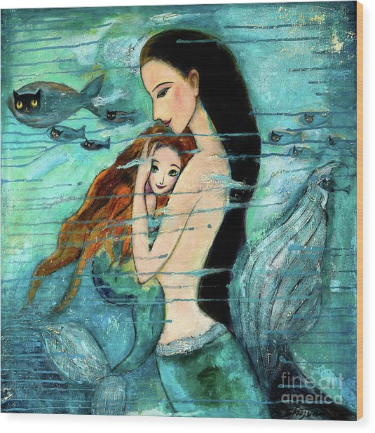 Mermaid Mother And Child Wood Print