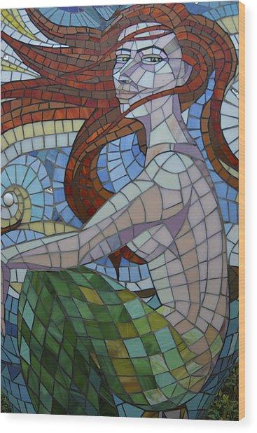 Mermaid Multi-colored Glass Mosaic  Wood Print