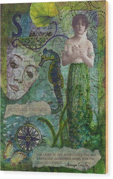 Mermaid Seahorse Dreams Wood Print