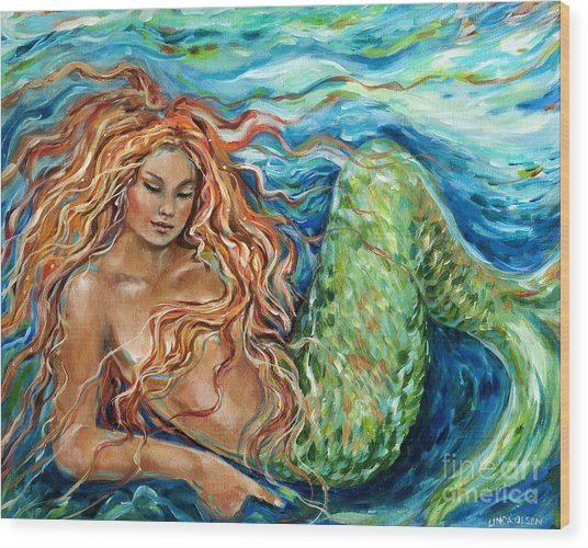 Mermaid Sleep New Wood Print
