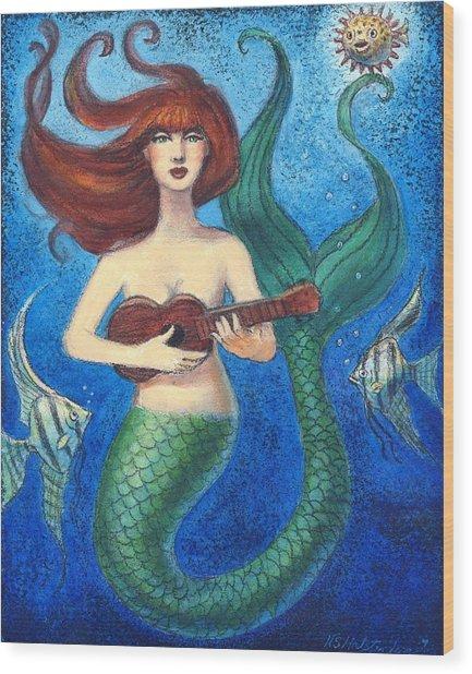 Mermaid Ukulele Angels Wood Print