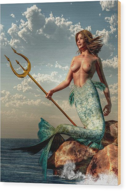 Mermaid With Golden Trident Wood Print