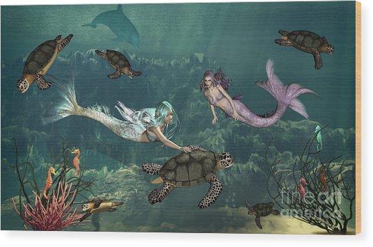 Mermaids At Turtle Springs Wood Print