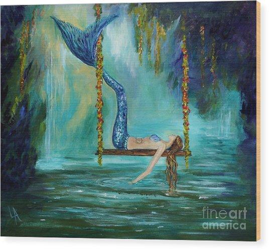 Mermaids Lazy Lagoon Wood Print