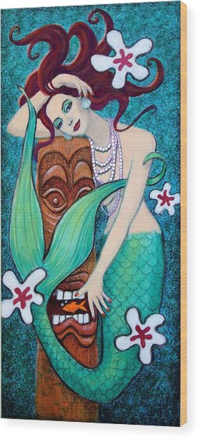 Mermaid's Tiki God Wood Print