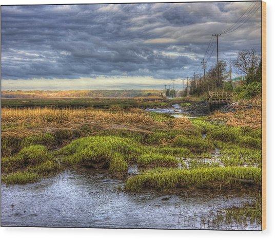 Merrimack River Marsh Wood Print