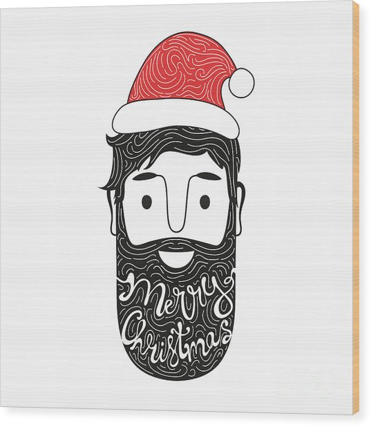 Merry Christmas Hand Drawn Style Wood Print