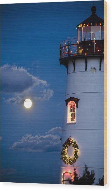 Merry Christmas Moon Wood Print