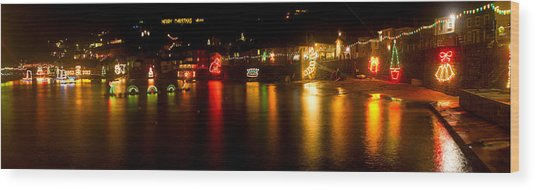 Merry Christmas Mousehole Lights Wood Print