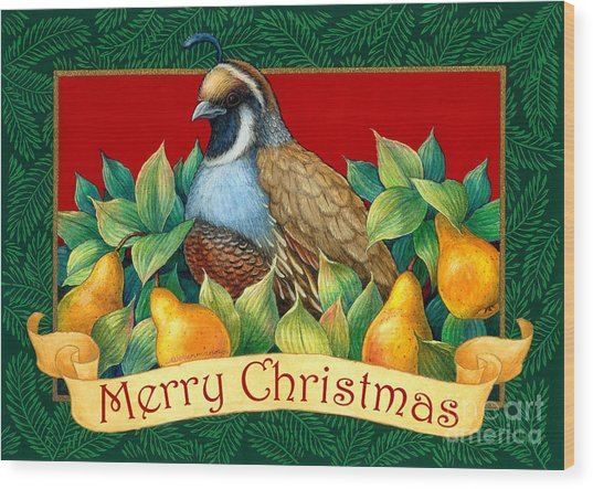 Merry Christmas Partridge Wood Print