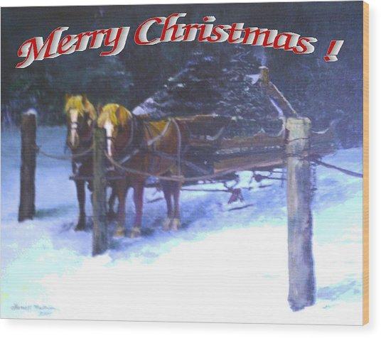 Merry Christmas Sleigh Wood Print