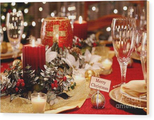 Merry Christmas Table Wood Print