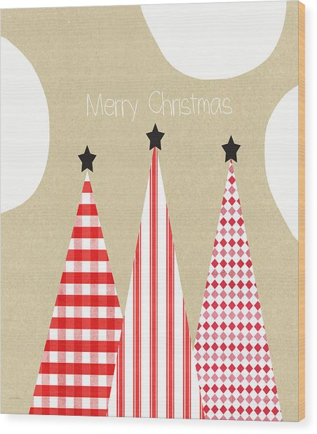 Merry Christmas With Red And White Trees Wood Print