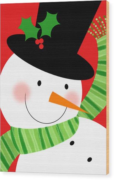 Merry Snowman Wood Print