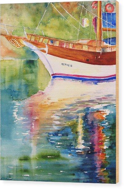 Merve II Gulet Yacht Reflections Wood Print