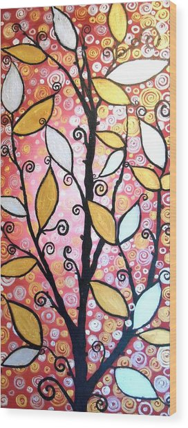 Metallic Leaves Wood Print