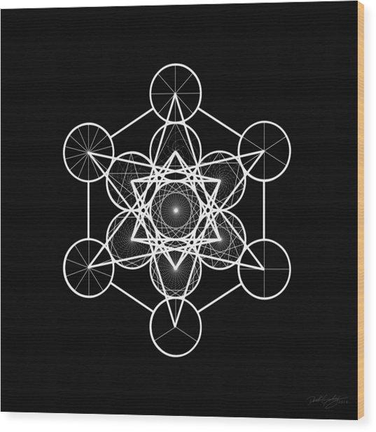 Wood Print featuring the digital art Metatron Wheel Cube by Derek Gedney