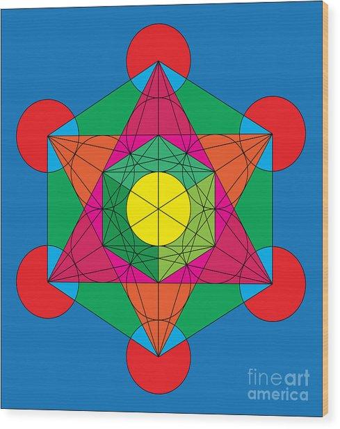 Metatron's Cube In Colors Wood Print
