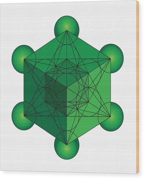 Metatron's Cube In Green Wood Print