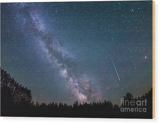 Meteor Milky Way  Wood Print