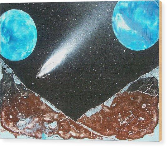 Meteor Moons Wood Print
