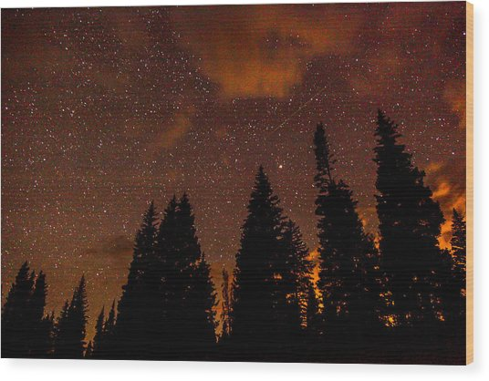 Meteor Shower Wood Print