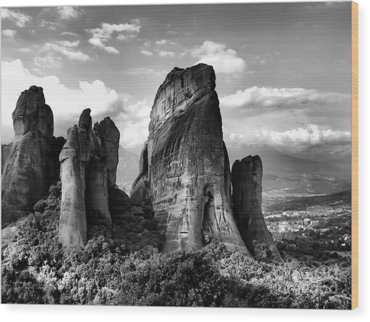 Meteora Greece Strange Rock Formation Wood Print