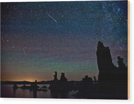 Meteors Over Mono Lake Wood Print