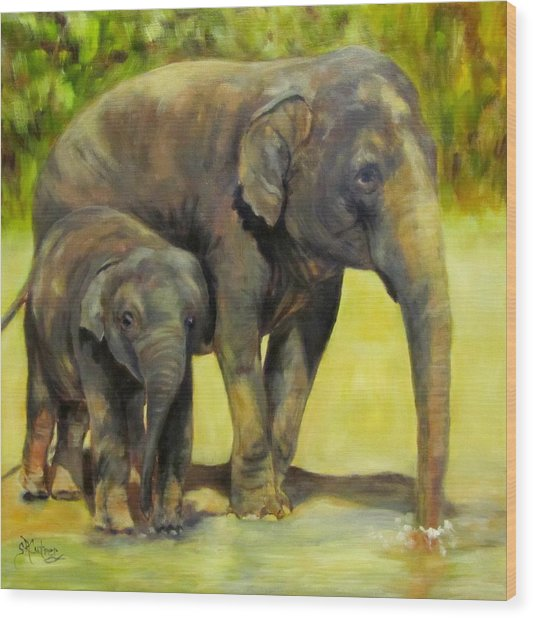 Thirsty, Methai And Baylor, Elephants  Wood Print