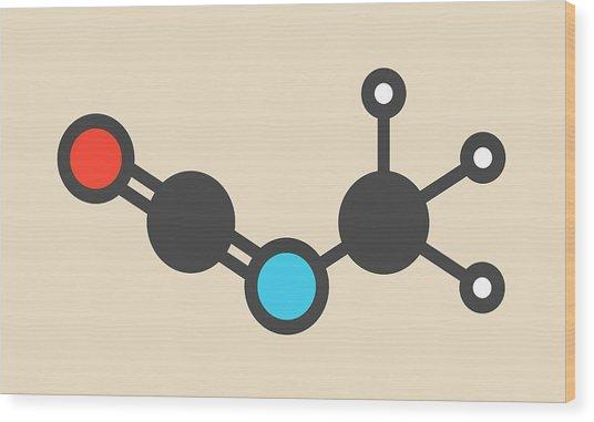 Methyl Isocyanate Toxic Molecule Wood Print by Molekuul