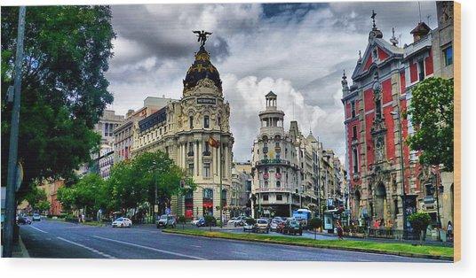 Metropolis Madrid Wood Print by Pedro Fernandez
