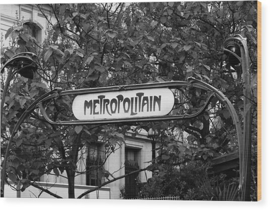 Metropolitain - Bw Wood Print by Carrie Warlaumont