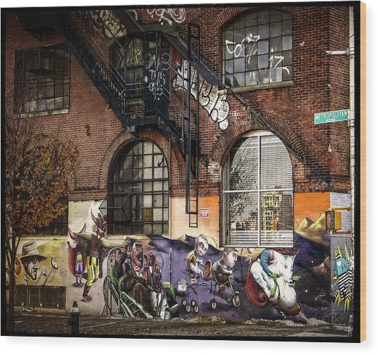 Metropolitan Avenue Graffiti Wood Print
