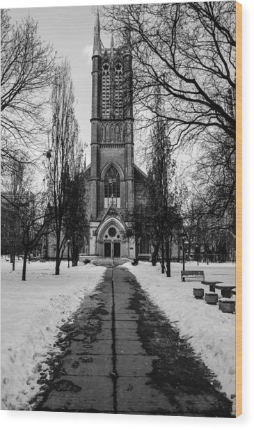 Wood Print featuring the photograph Metropolitan United Church - Black And White by Rosemary Legge