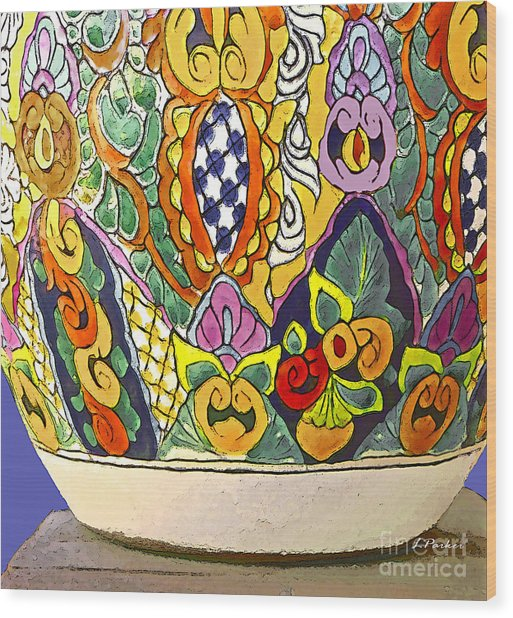 Mexican Ceramic Pottery Wood Print by Linda  Parker