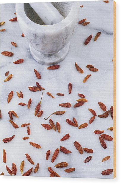 Mexican Chillies Wood Print by Geoff Kidd