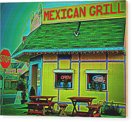 Mexican Grill Wood Print